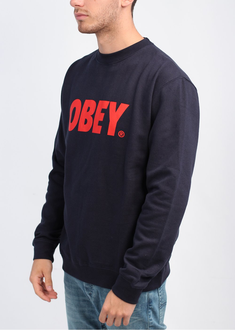 Obey Front Jumper - Navy/Red