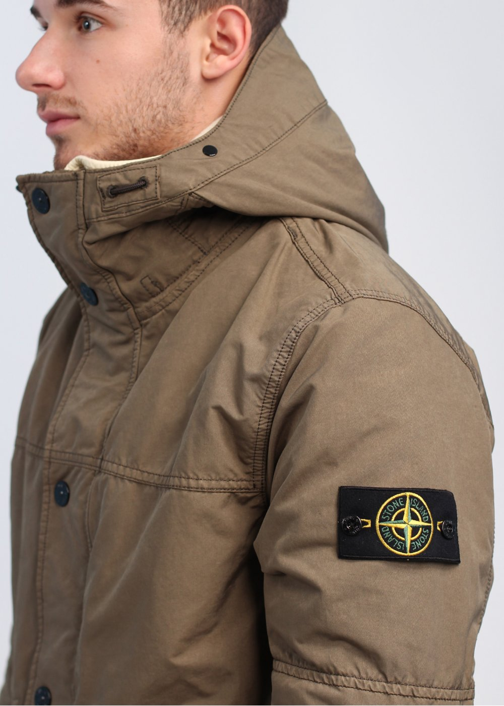 Stone Island Hooded Parka Jacket Walnut