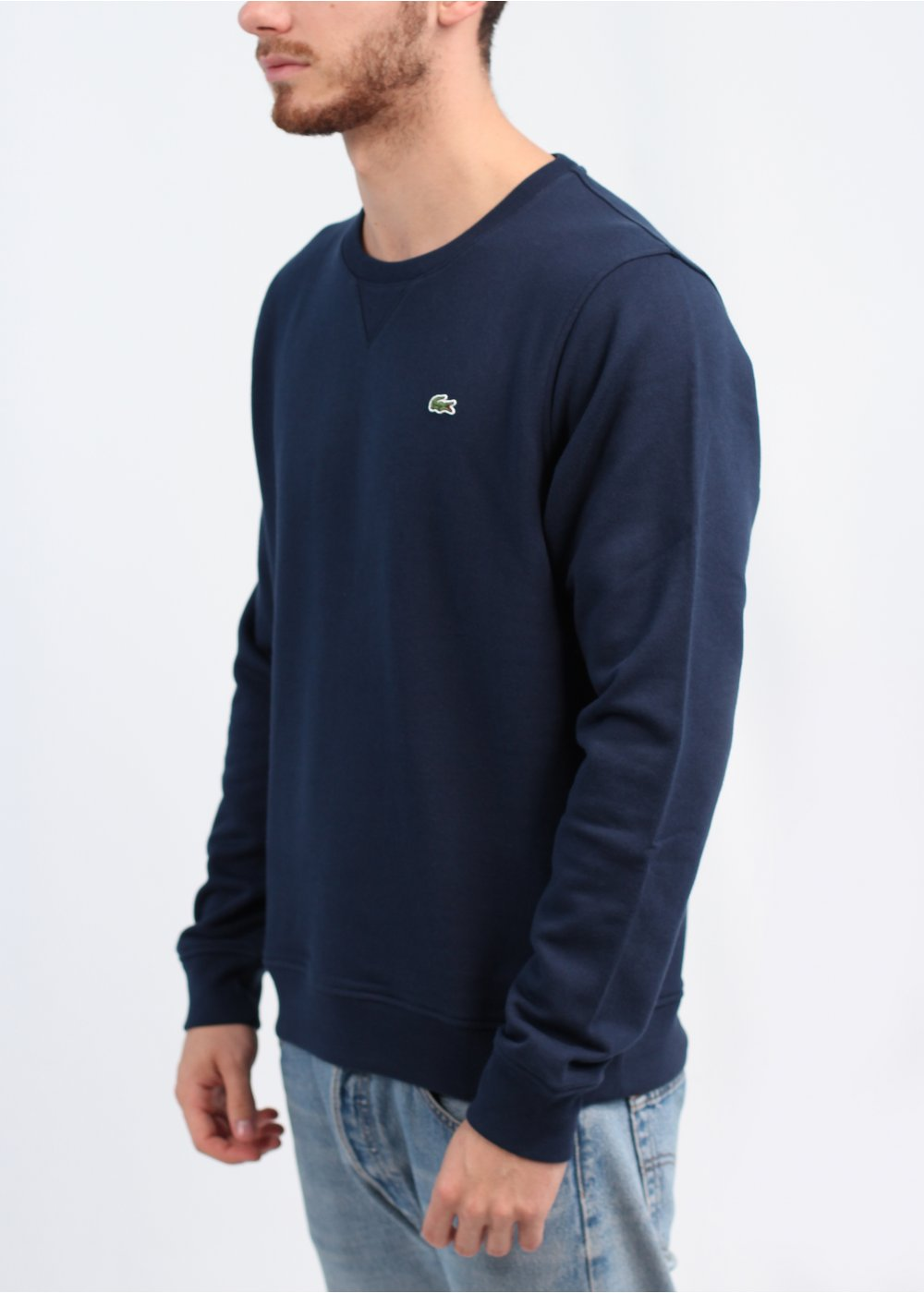 lacoste crew logo sweater navy blue. Black Bedroom Furniture Sets. Home Design Ideas