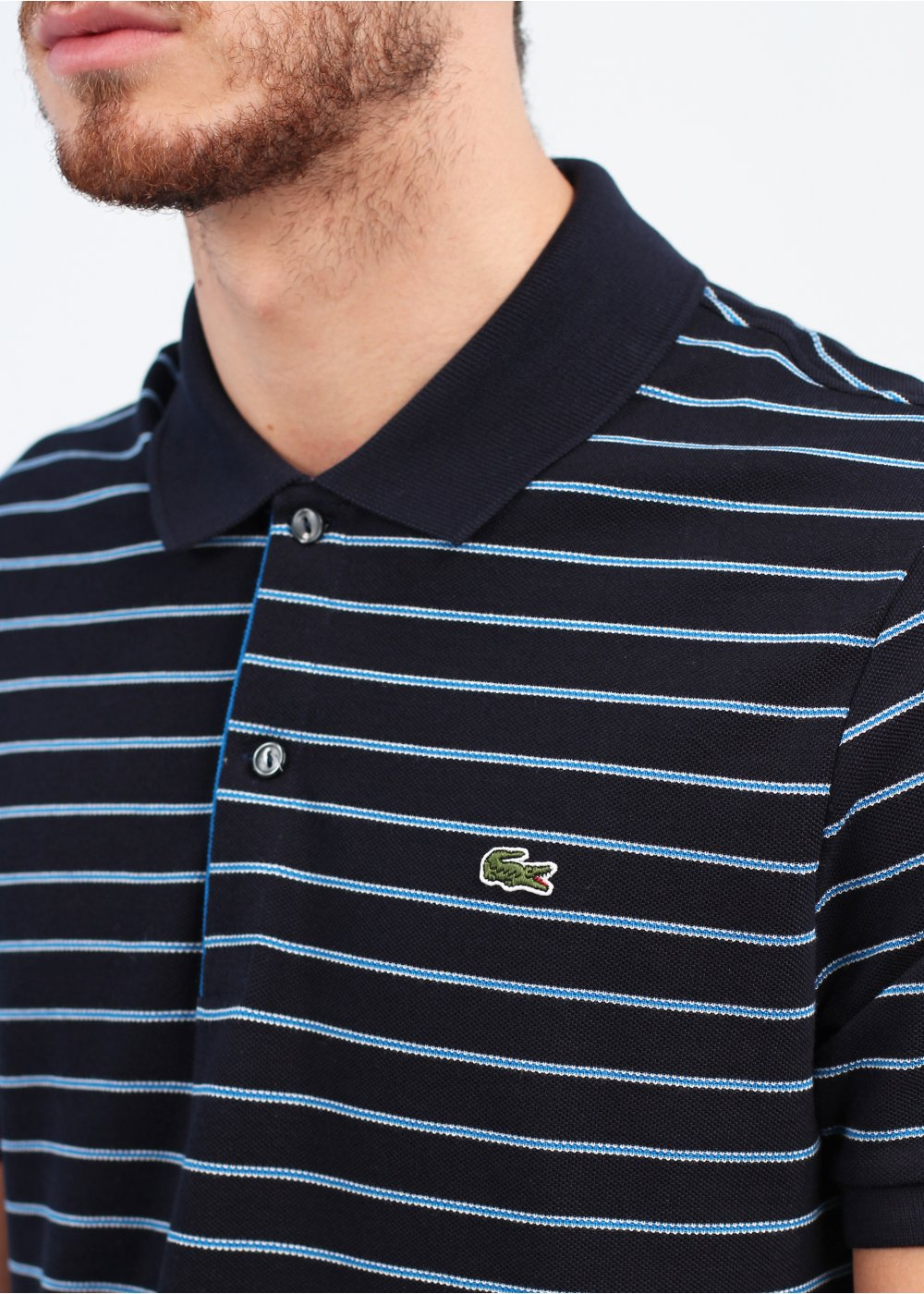 Lacoste stripe logo polo shirt black for Lacoste stripe pique polo shirt