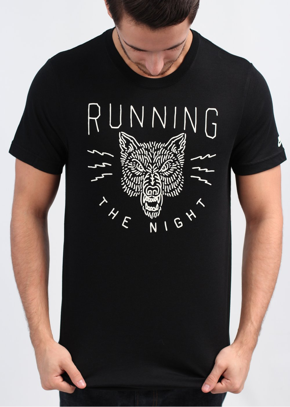 Nike Brooklyn Running Flash Wolf T Shirt Black