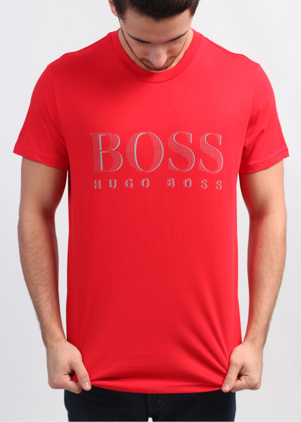Hugo boss black logo t shirt bright red for Hugo boss t shirts online