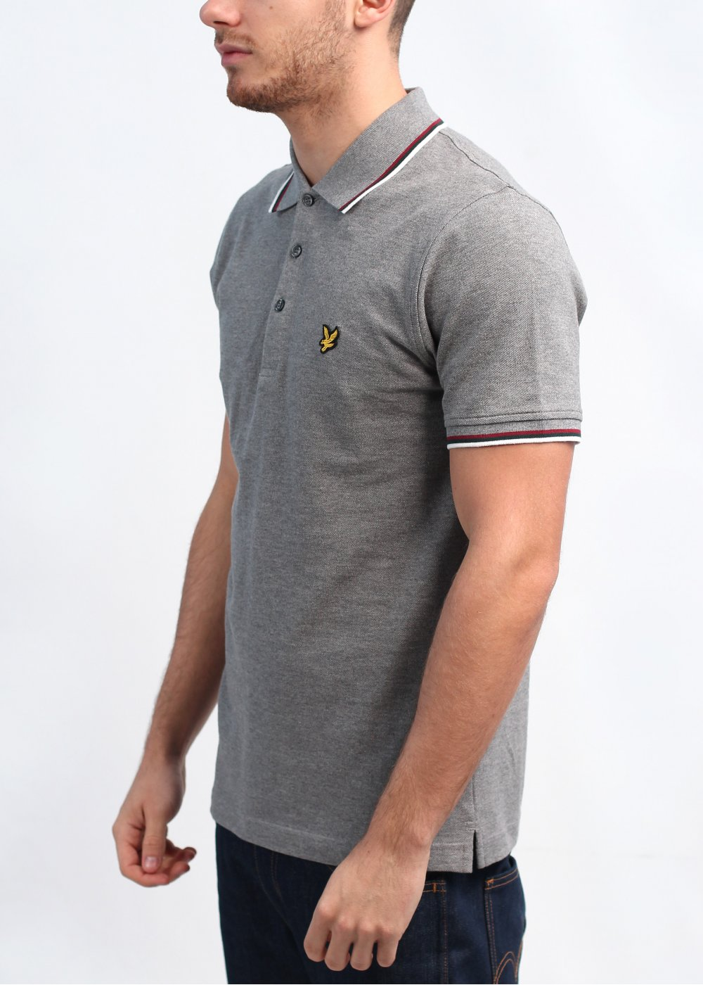 lyle scott vintage tipped polo shirt mid grey. Black Bedroom Furniture Sets. Home Design Ideas