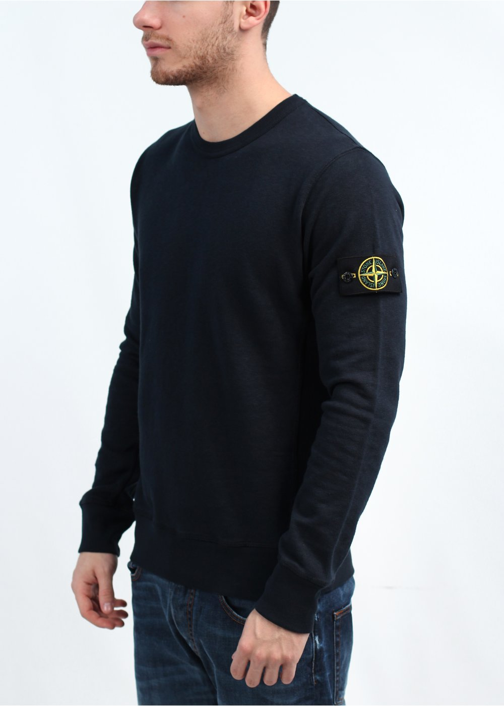stone island crew neck sweatshirt navy. Black Bedroom Furniture Sets. Home Design Ideas
