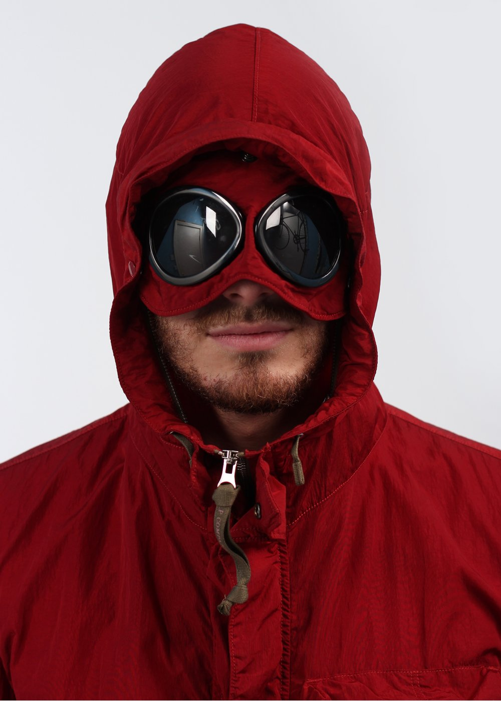 CP Company Packable Concealed Hooded Goggle Jacket Rosewood Red