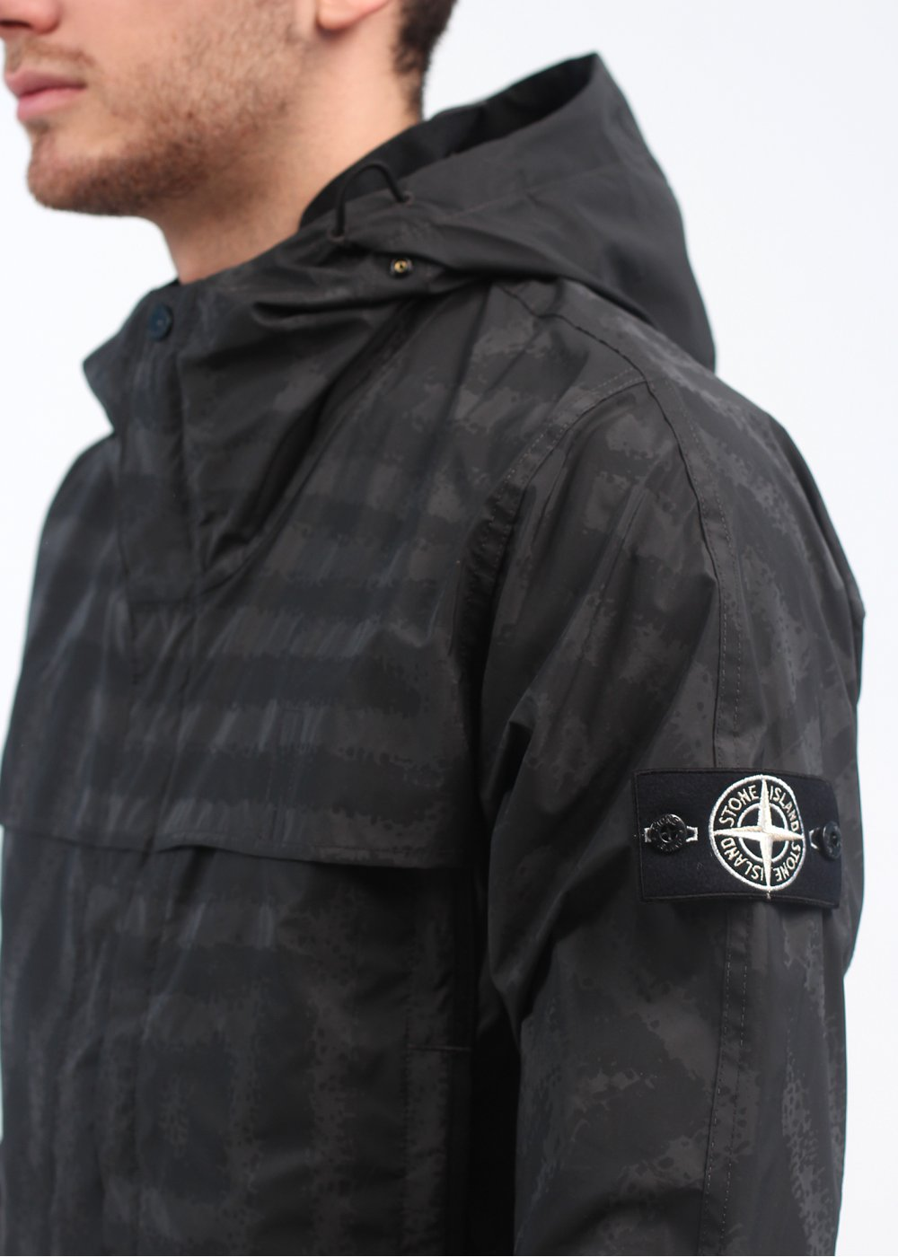 stone island lightweight lasered reflect mat jacket black