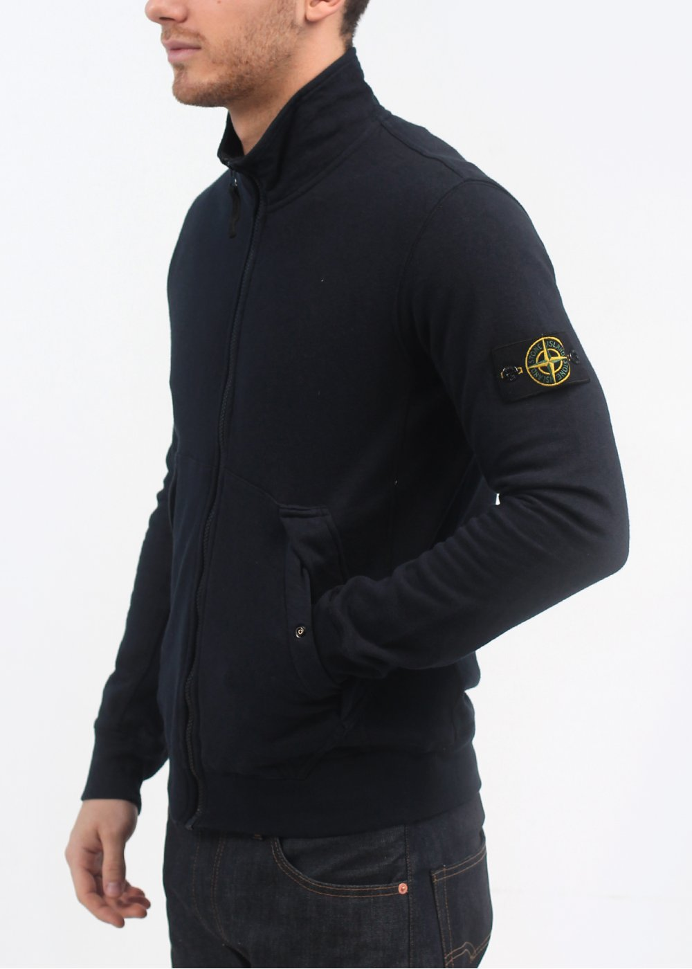 stone island zip sweatshirt navy. Black Bedroom Furniture Sets. Home Design Ideas