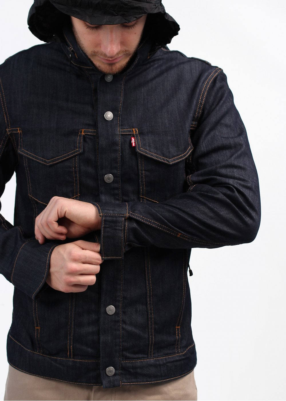 Denim Jacket With Hood Mens