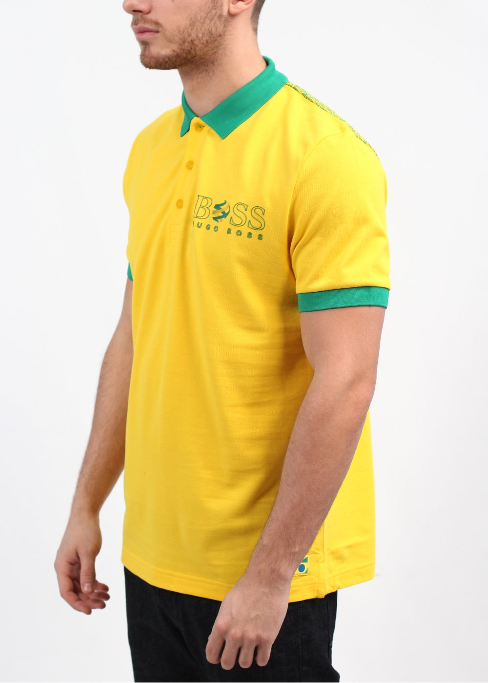 Hugo boss green brazil wc paddy polo shirt yellow green for Hugo boss green polo shirt sale