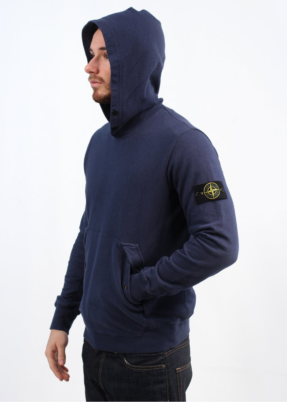 stone island garment dyed pullover hooded jumper ink. Black Bedroom Furniture Sets. Home Design Ideas