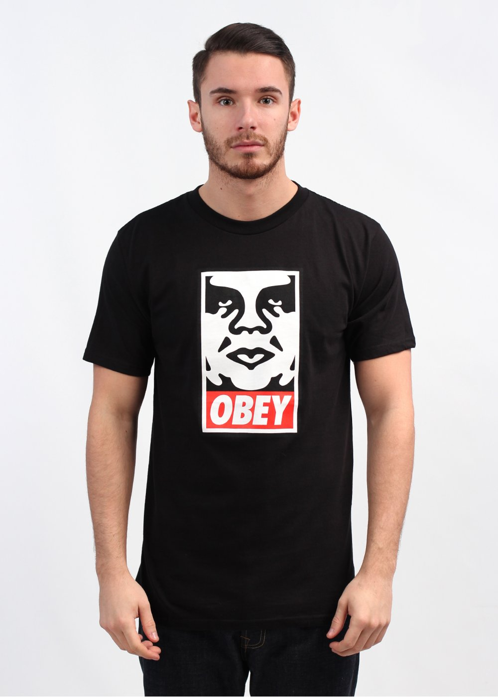Obey icon face basic t shirt black for Black obey t shirt
