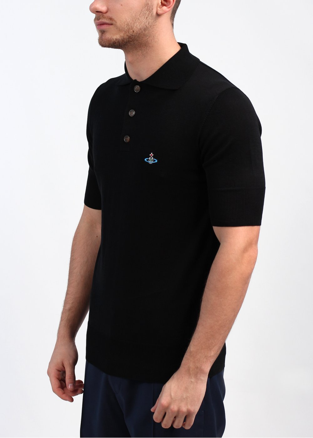 Vivienne westwood knit polo shirt black for Knitted polo shirt mens