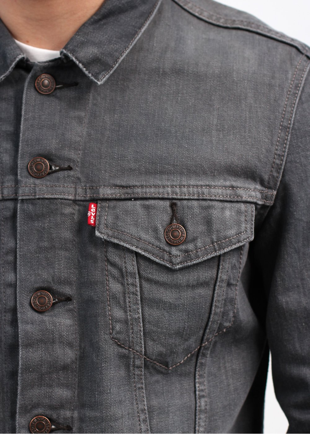 Levi S Red Tab Slim Trucker Jacket Grey