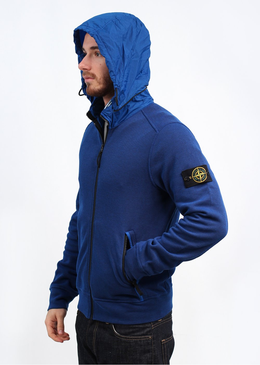 stone island concealed hood zip jacket blue. Black Bedroom Furniture Sets. Home Design Ideas