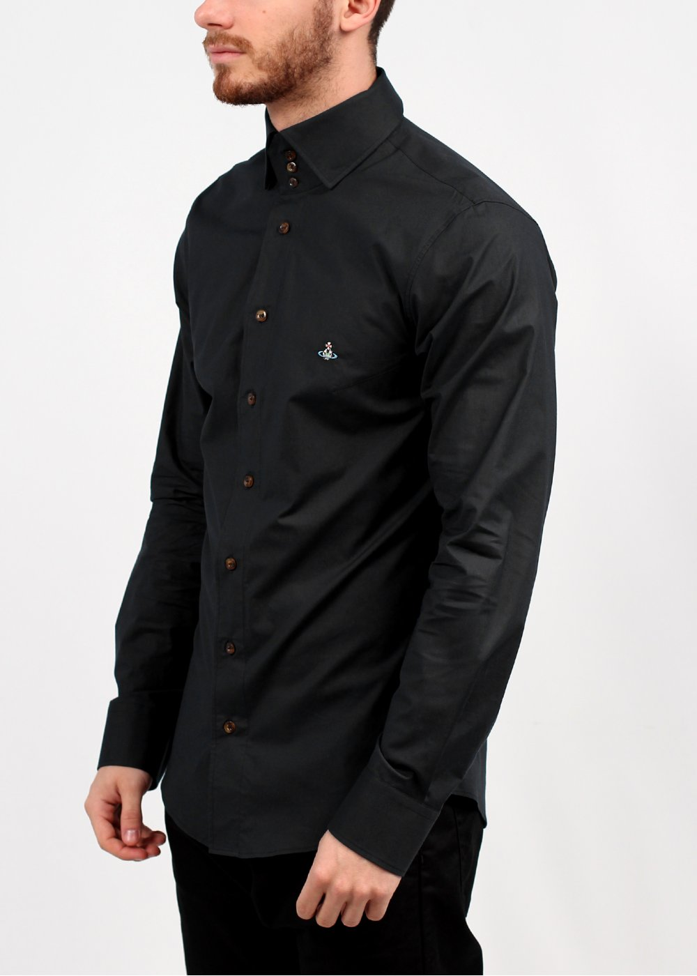 Vivienne westwood 3 button collar shirt black ss14 for Mens button collar shirts