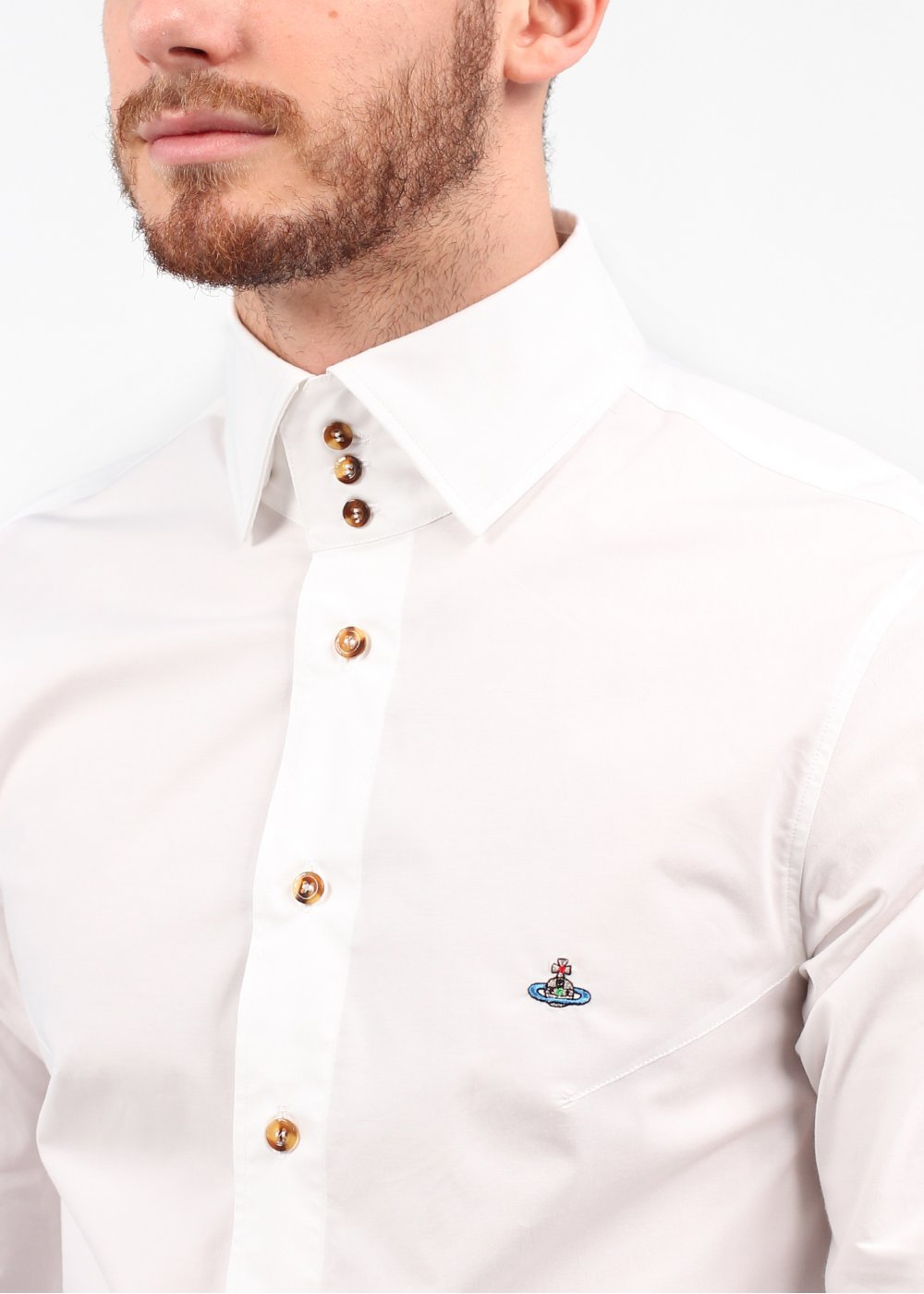 Vivienne westwood 3 button collar shirt white ss14 for Ray donovan white dress shirt brand