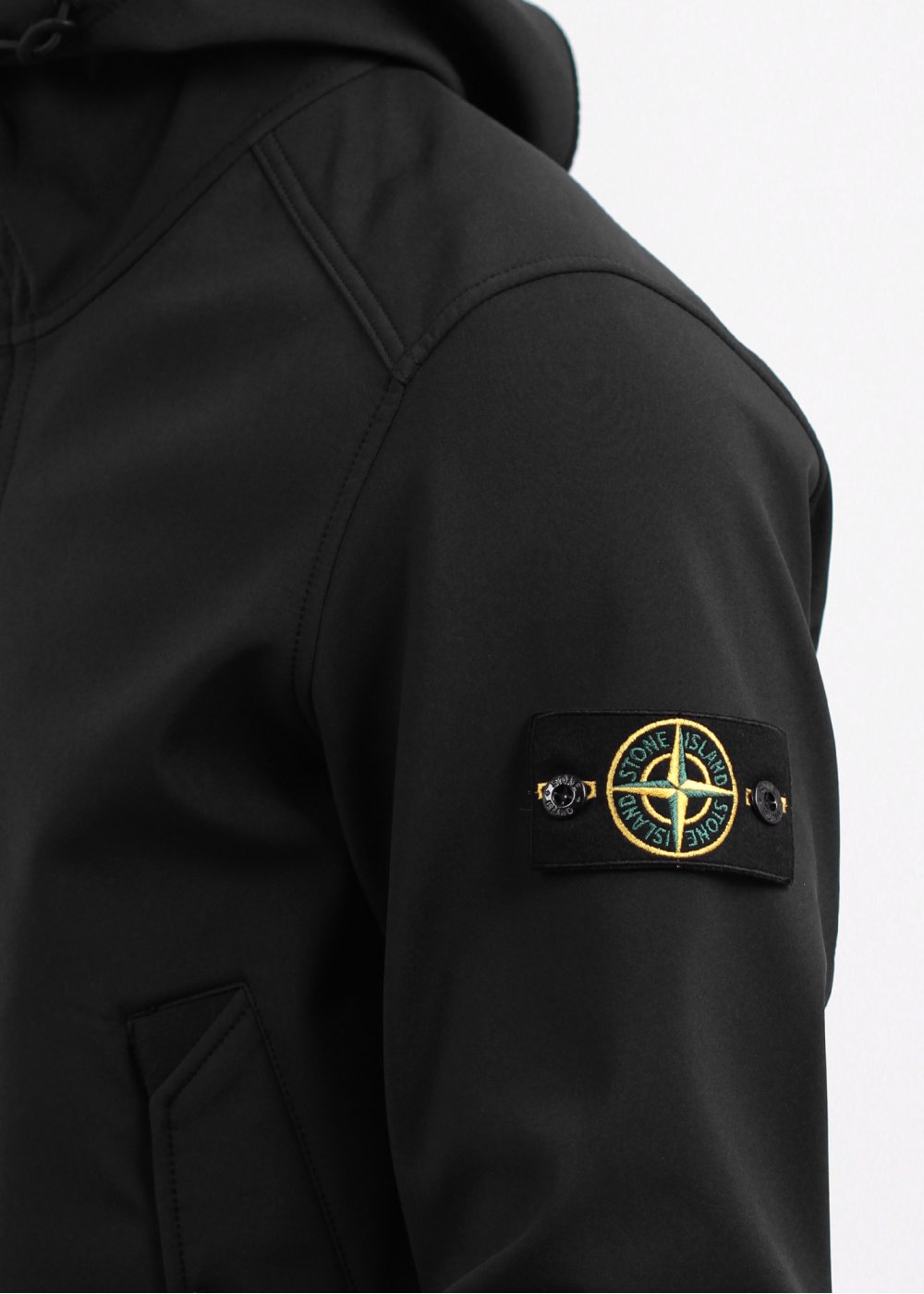Stone Island Soft Shell R Hooded Zip Jacket Black