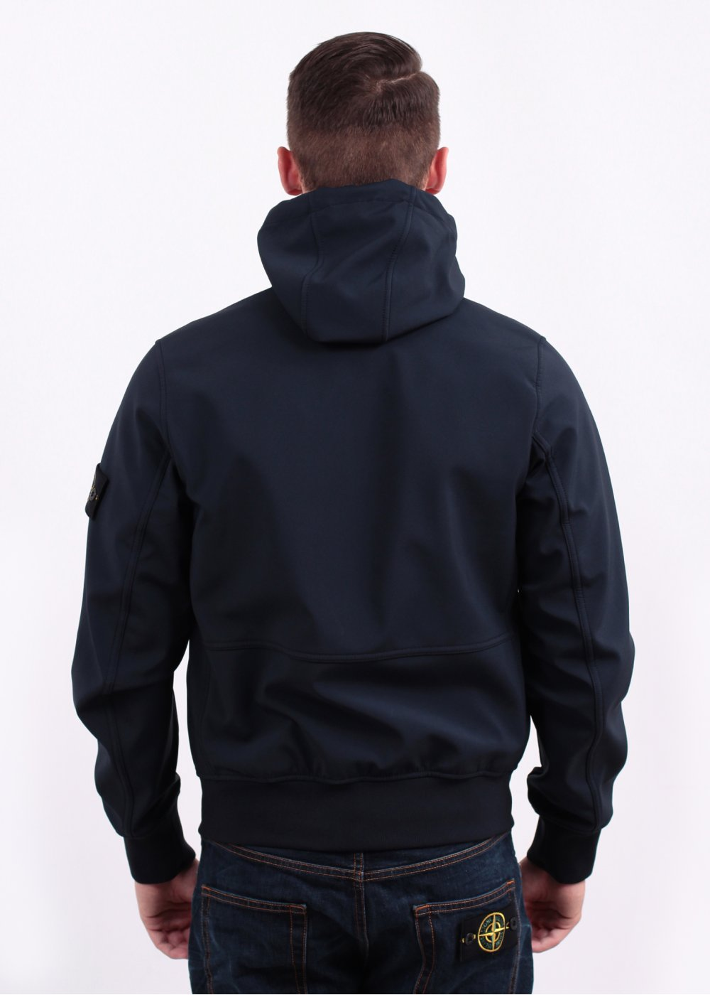 Stone Island Soft Shell R Hooded Zip Jacket Navy