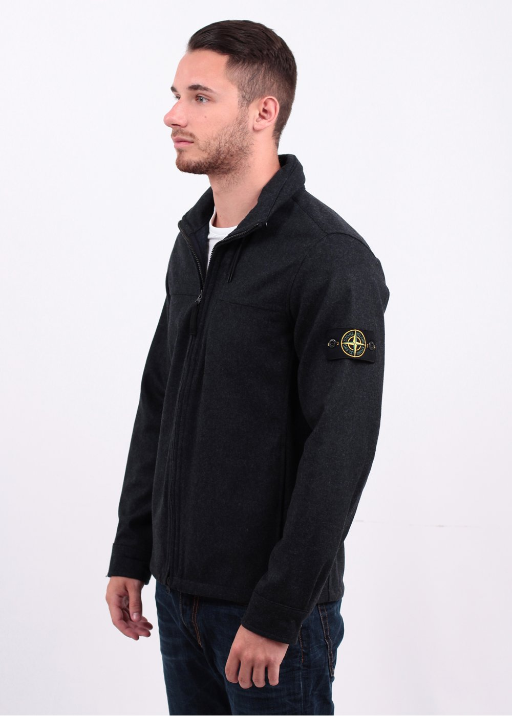 stone island zip overshirt marine blue. Black Bedroom Furniture Sets. Home Design Ideas