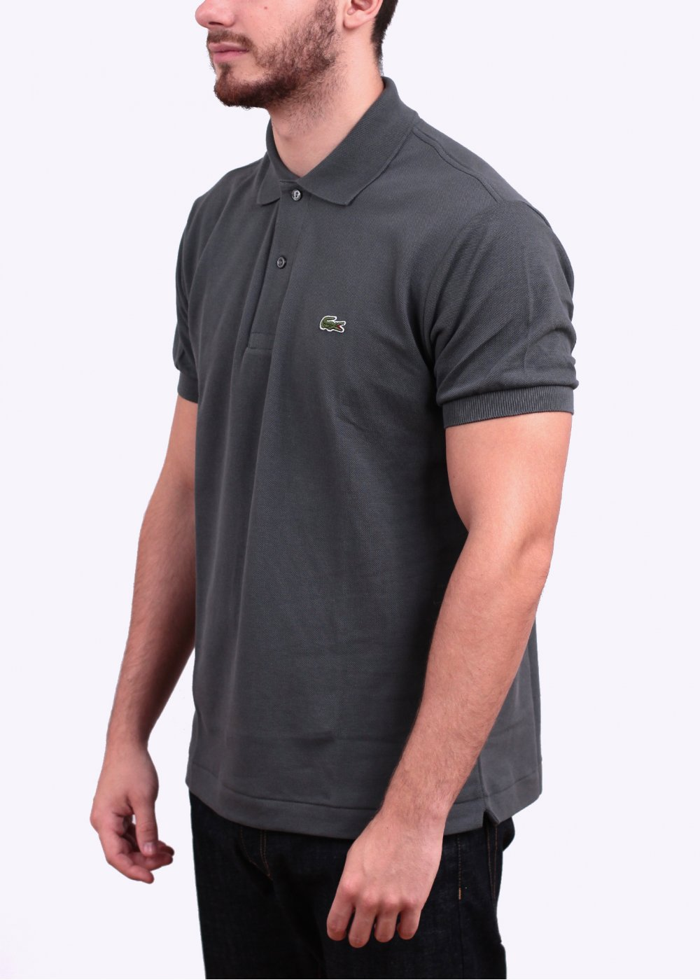 lacoste short sleeve logo polo shirt dark grey