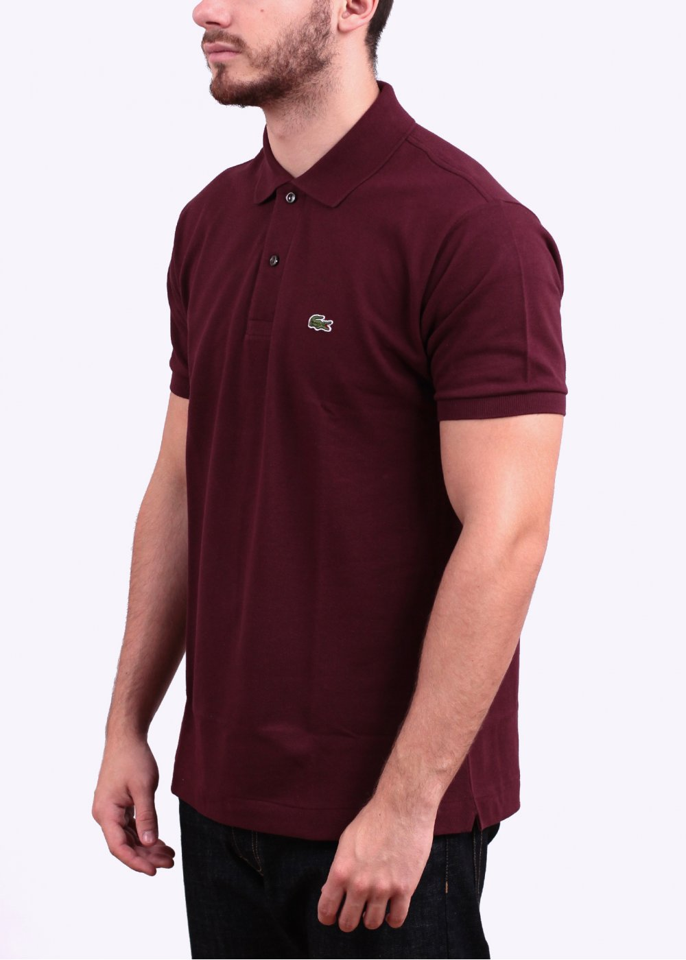lacoste short sleeve logo polo shirt maroon