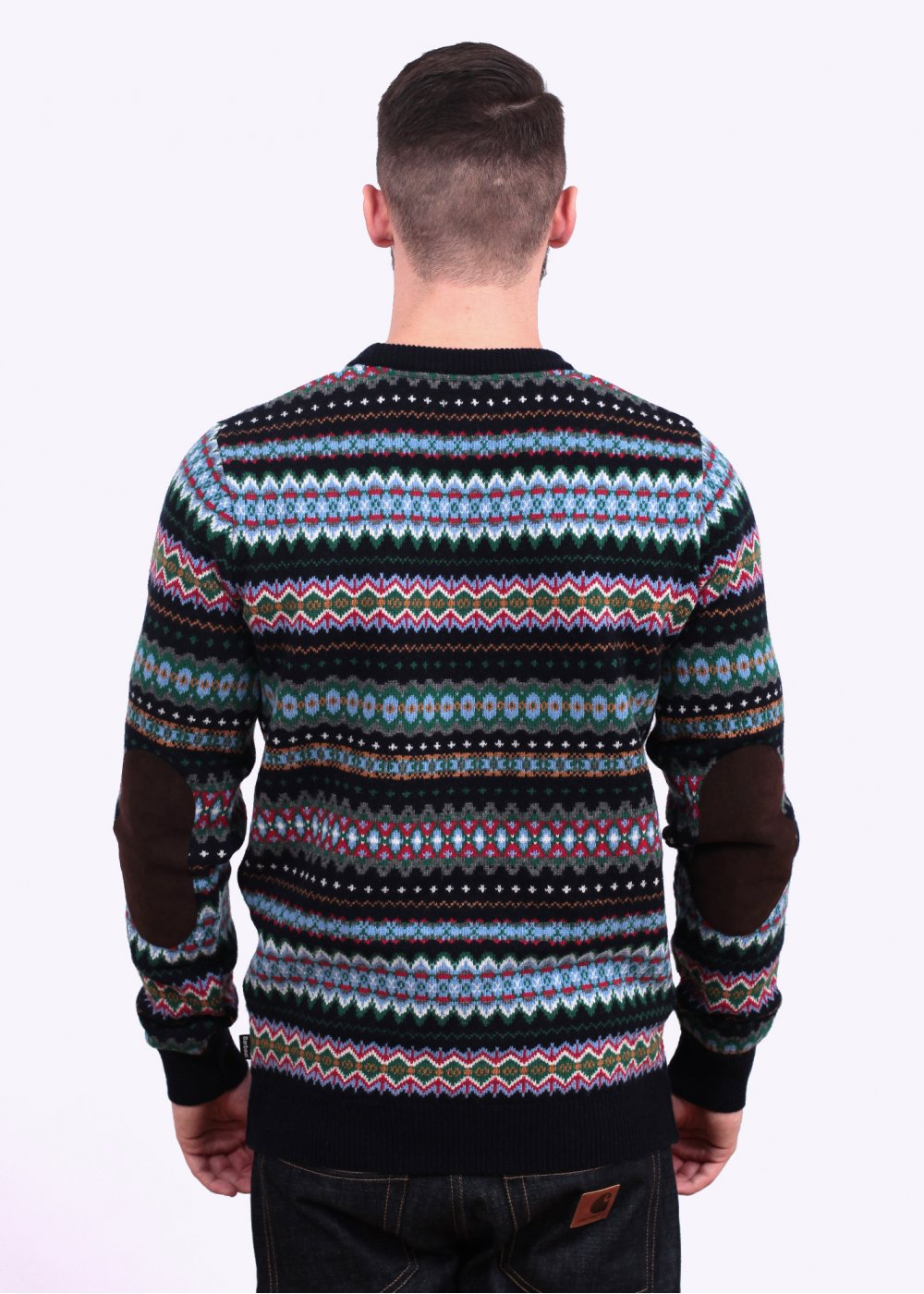 Barbour Caistown Fair Isle Crew Sweater Midnight Blue