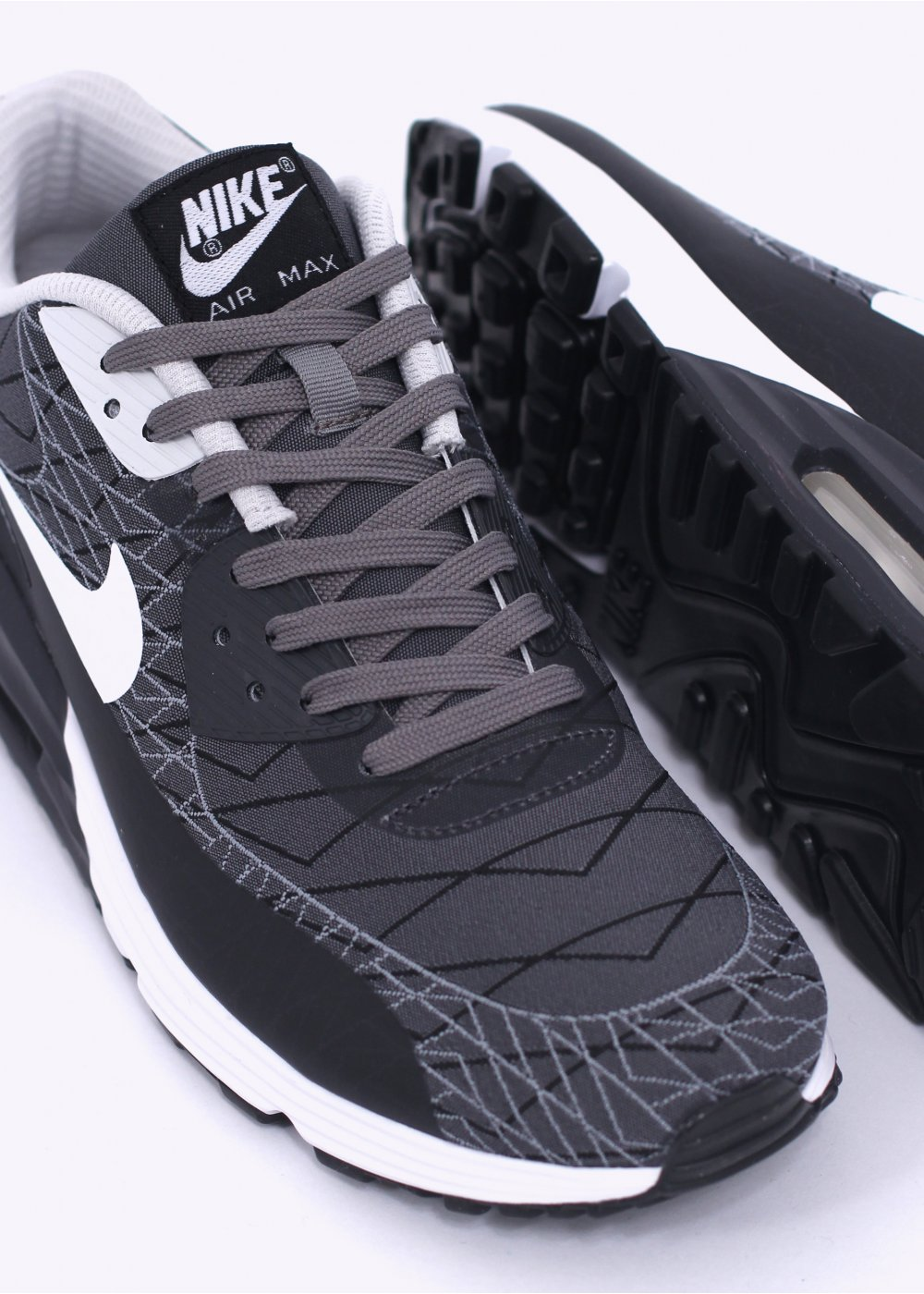nike air max lunar 90 jcrd trainers grey white. Black Bedroom Furniture Sets. Home Design Ideas