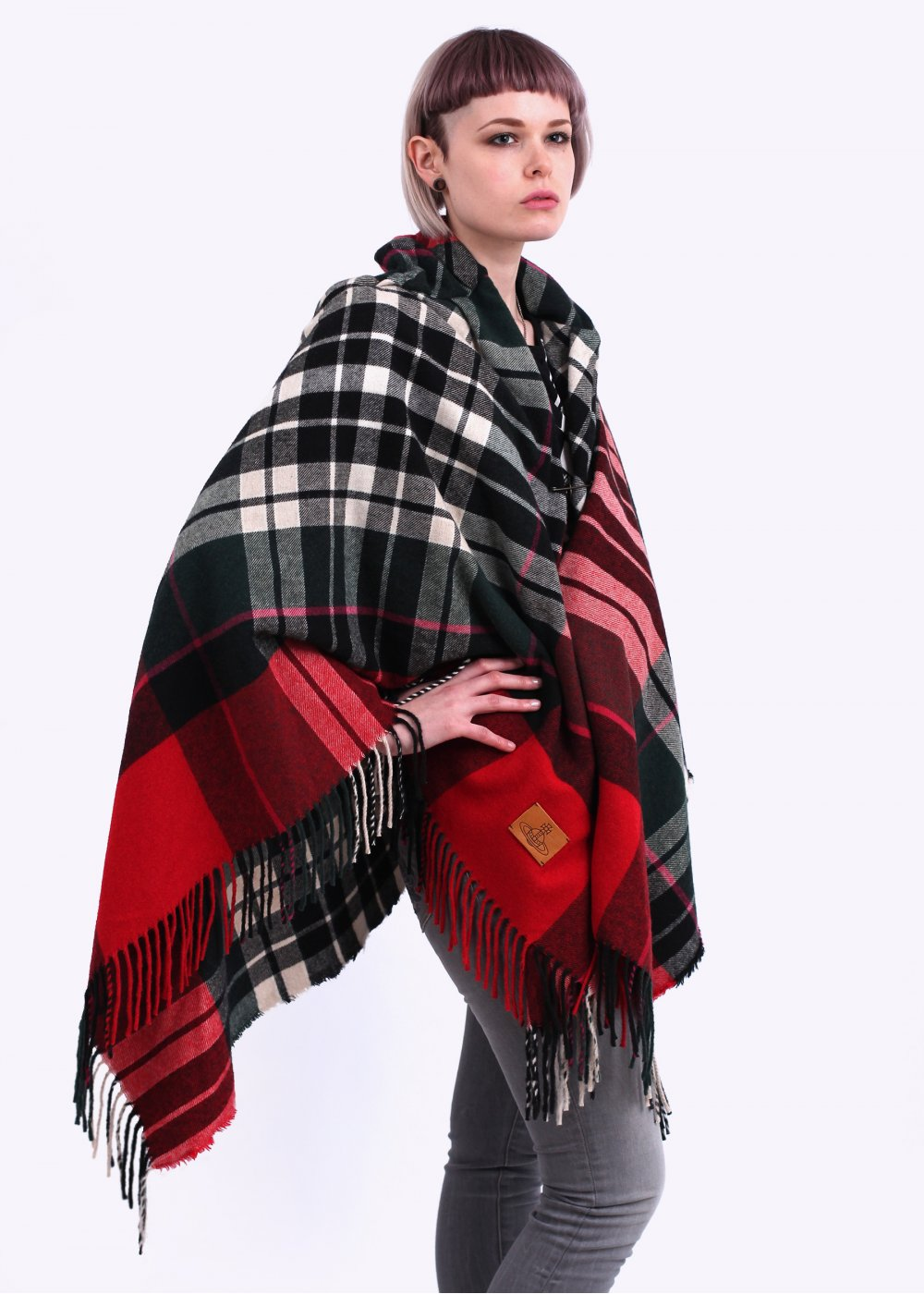 vivienne westwood anglomania poncho tartan cape red aw14. Black Bedroom Furniture Sets. Home Design Ideas