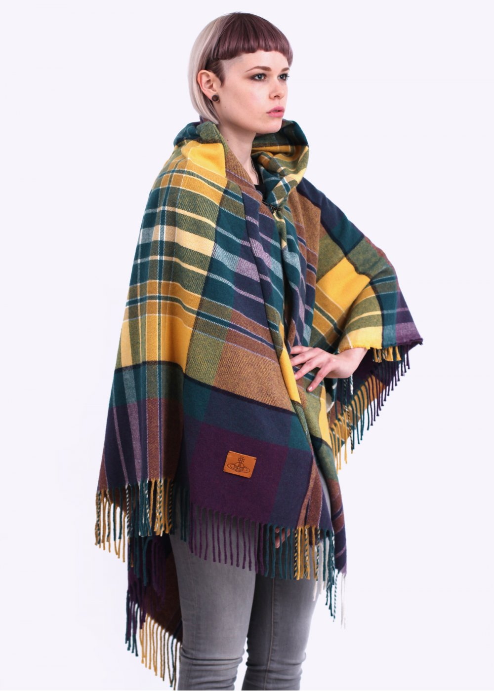 vivienne westwood anglomania poncho tartan cape green aw14. Black Bedroom Furniture Sets. Home Design Ideas
