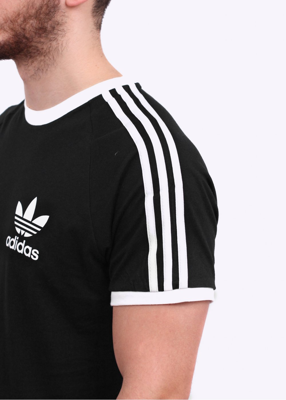Adidas originals sports ess tee black for Adidas ringer t shirt