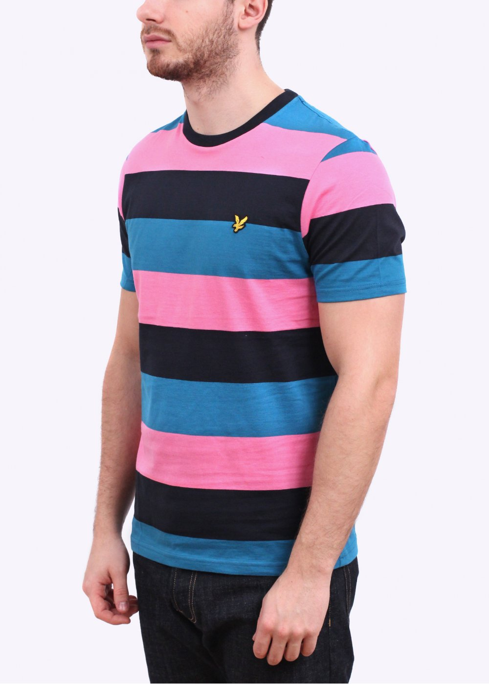 Lyle scott rugby stripe tee hot pink for Pink and purple striped rugby shirt