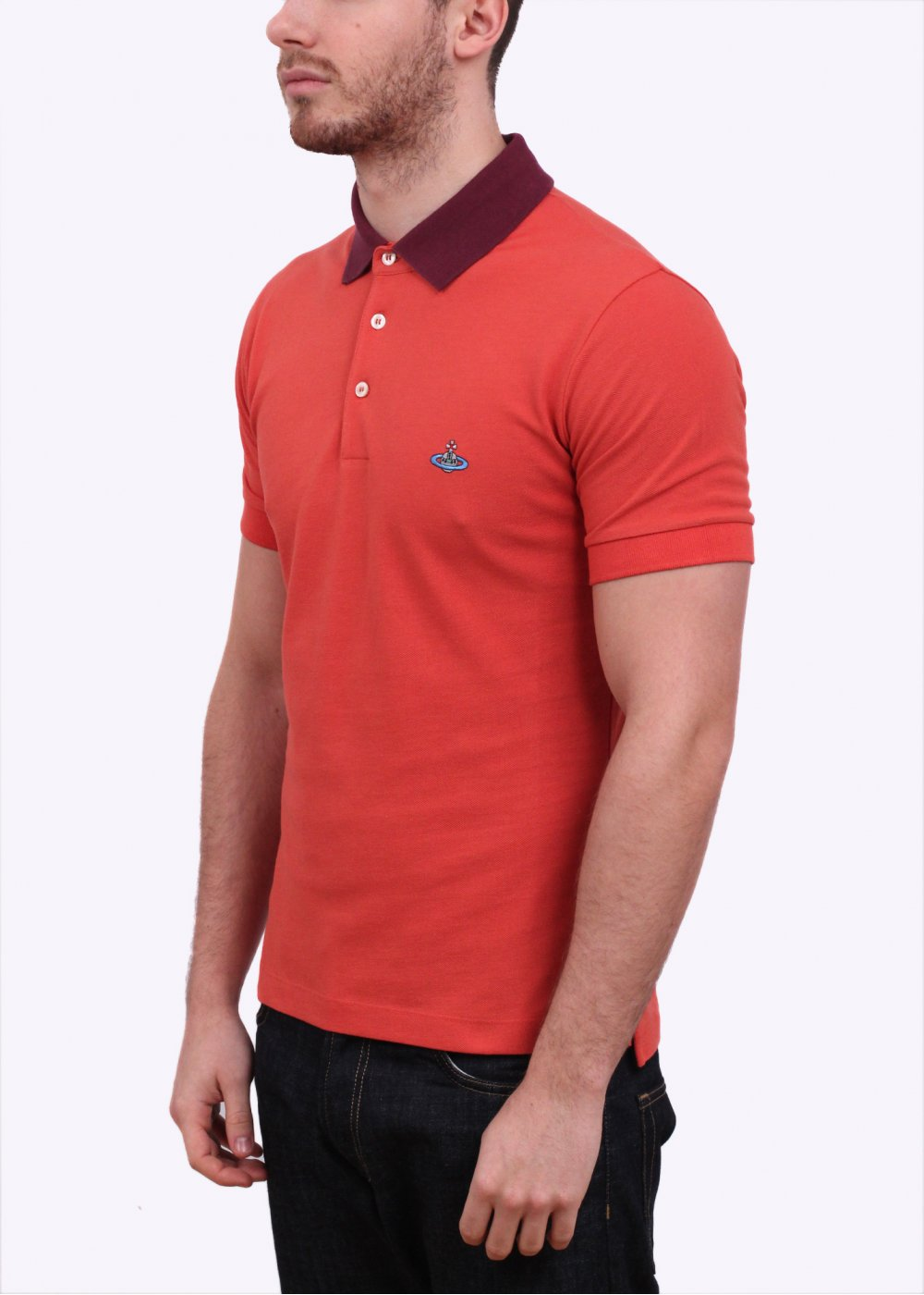 Vivienne westwood two tone polo shirt burnt orange for Mens orange polo shirt