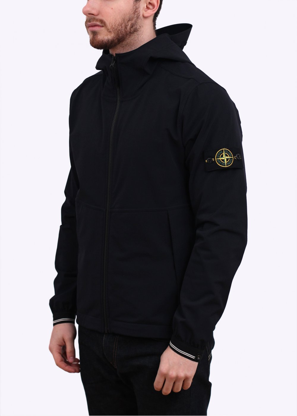 stone island comfort shell hooded jacket navy. Black Bedroom Furniture Sets. Home Design Ideas