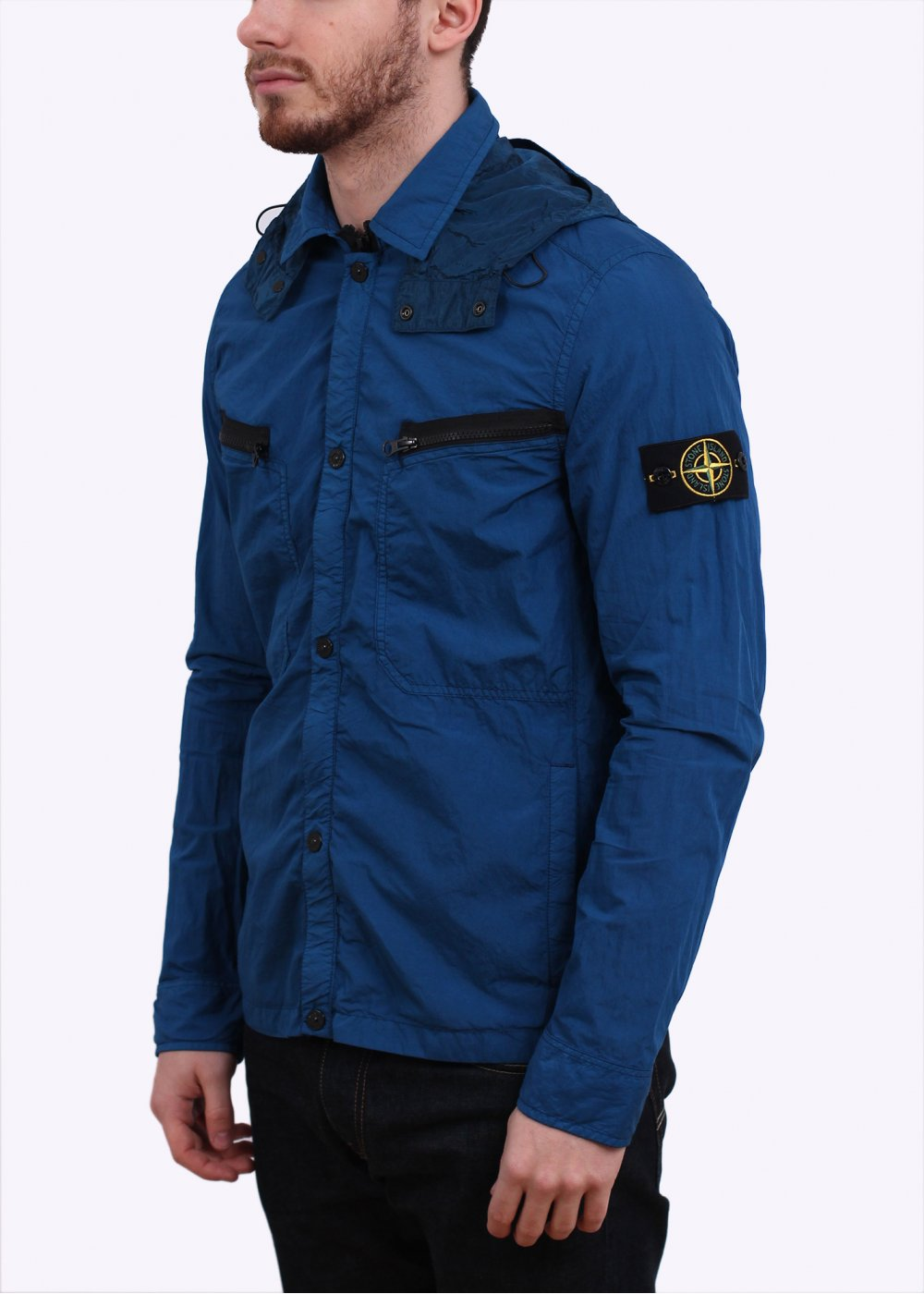 stone island lightweight overshirt jacket cobalt blue. Black Bedroom Furniture Sets. Home Design Ideas