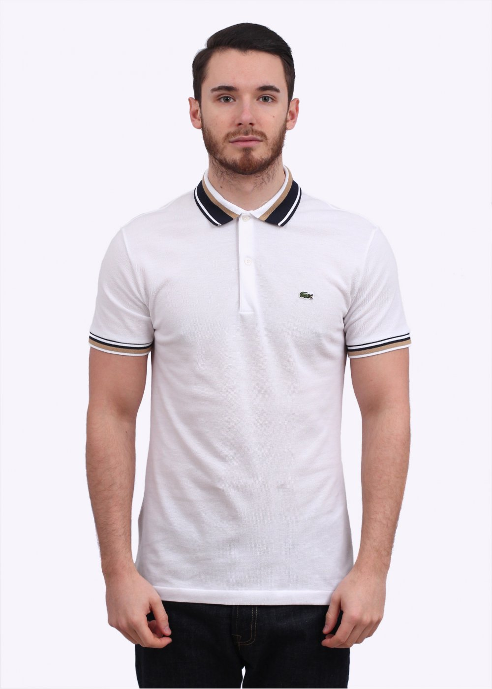 lacoste detailed collar polo shirt white. Black Bedroom Furniture Sets. Home Design Ideas