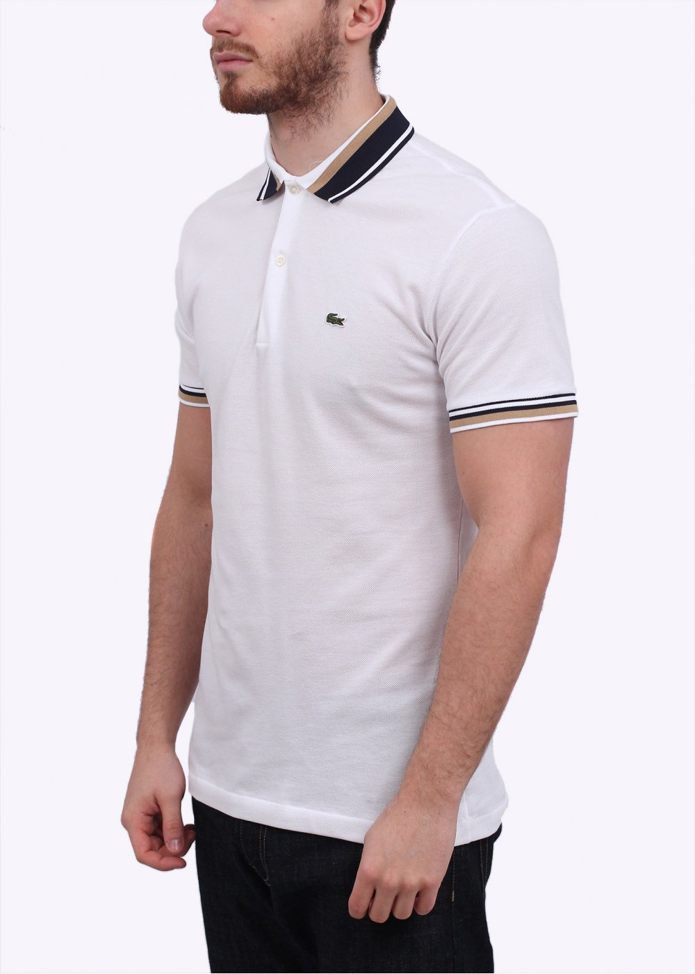 Lacoste detailed collar polo shirt white for Lacoste poloshirt weiay