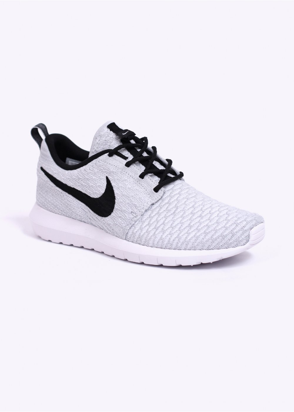 nike flyknit roshe run trainers white black wolf grey. Black Bedroom Furniture Sets. Home Design Ideas