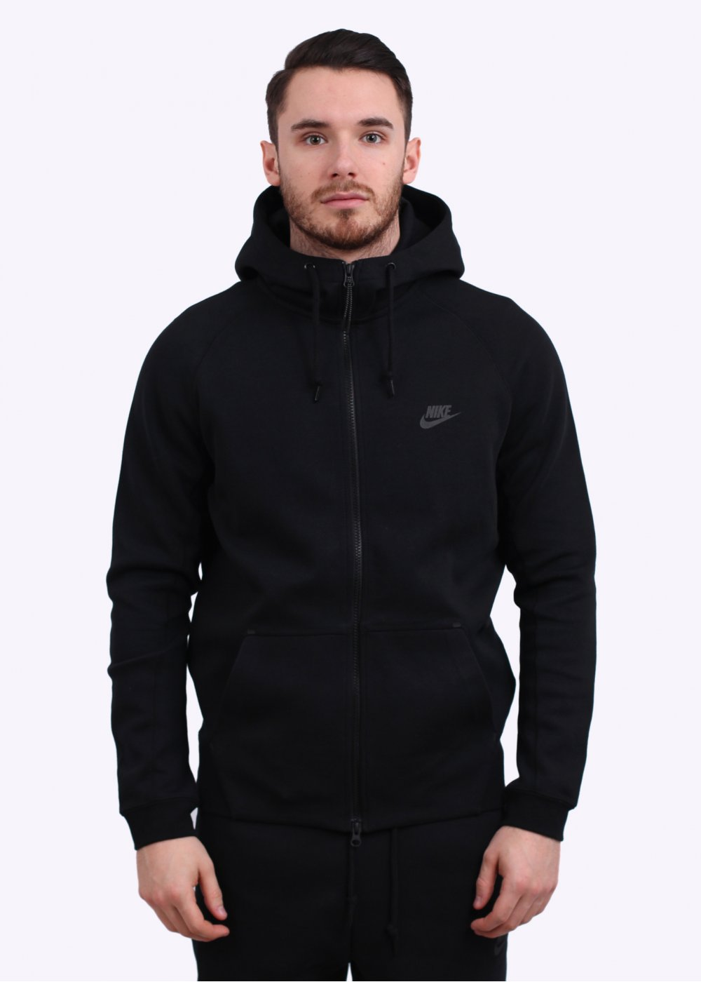 nike aw77 tech fleece hoodie black. Black Bedroom Furniture Sets. Home Design Ideas