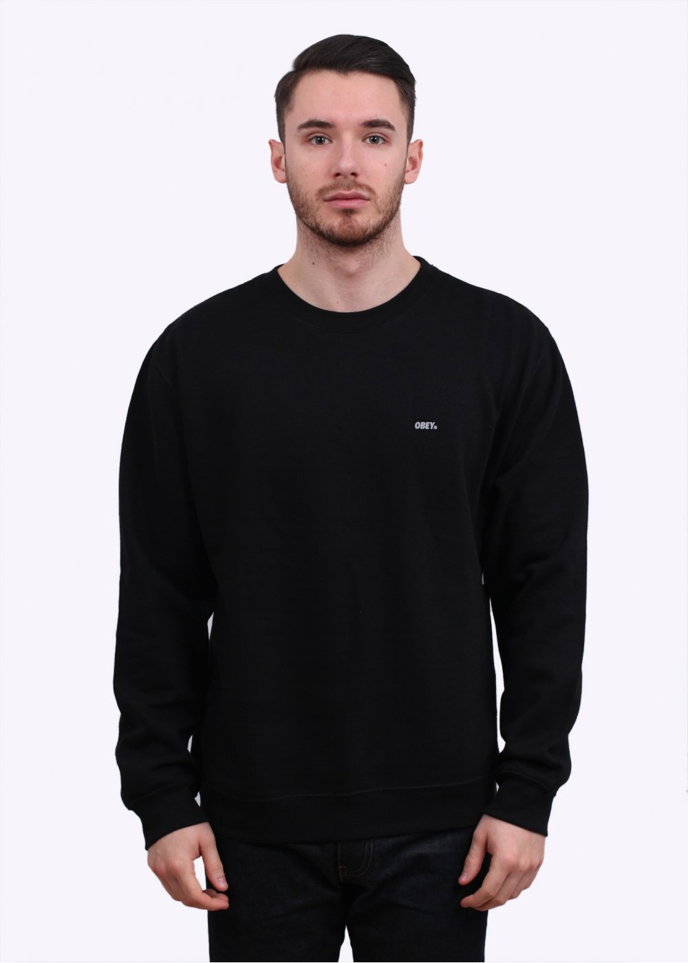 Obey Font Reflective Sweater - Black