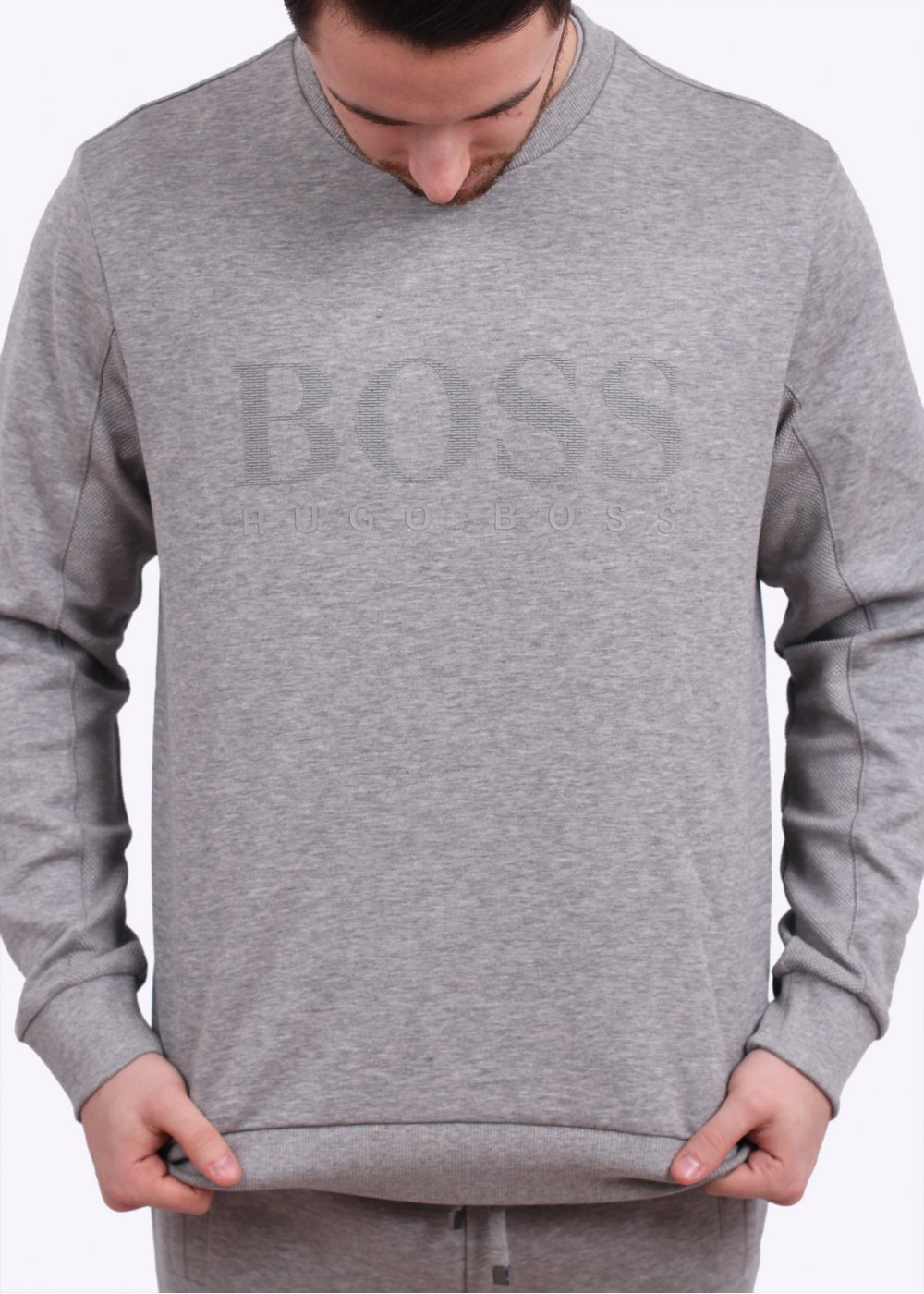 hugo boss green salbo jersey sweater light grey. Black Bedroom Furniture Sets. Home Design Ideas