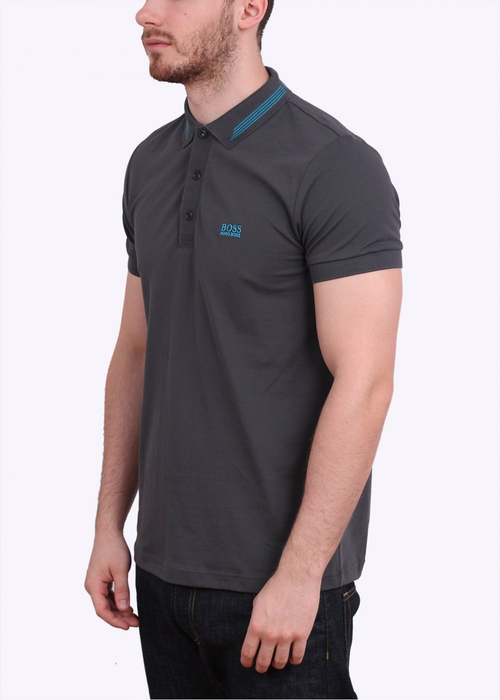 Hugo boss green paule polo shirt dark grey for Hugo boss green polo shirt sale