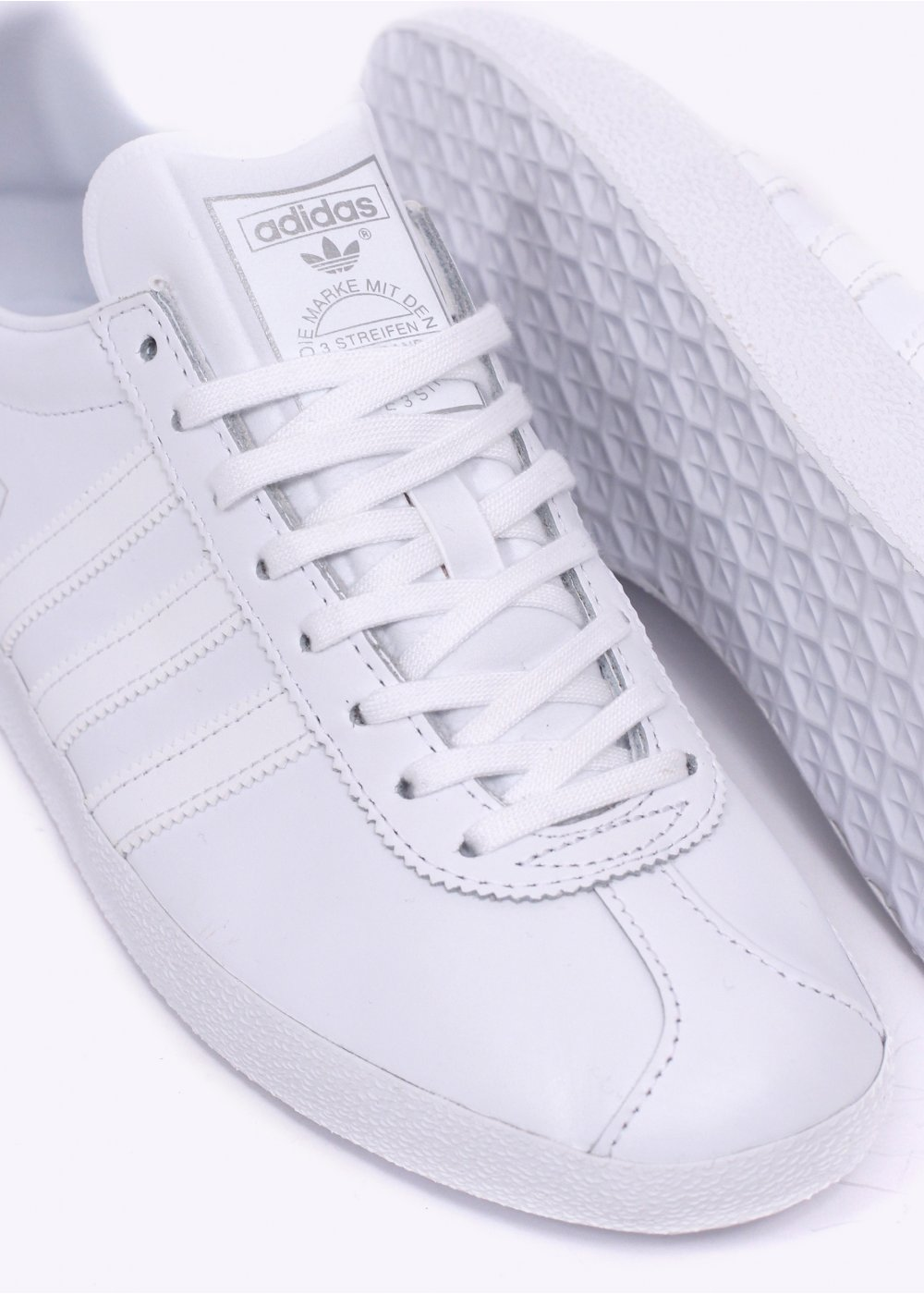 all white leather adidas gazelle
