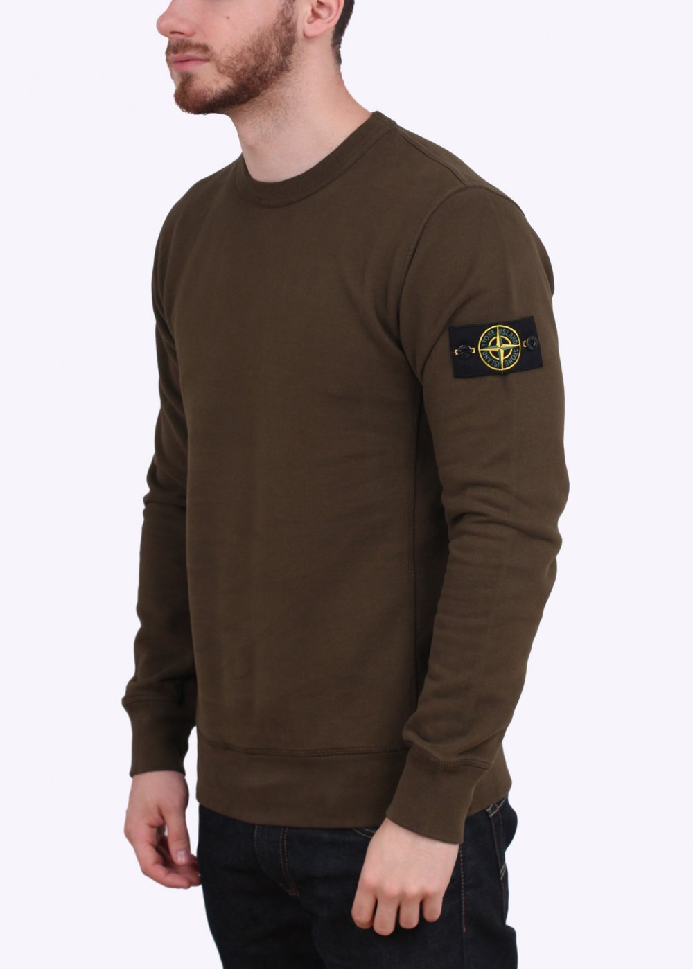 stone island crew neck sweatshirt military green. Black Bedroom Furniture Sets. Home Design Ideas