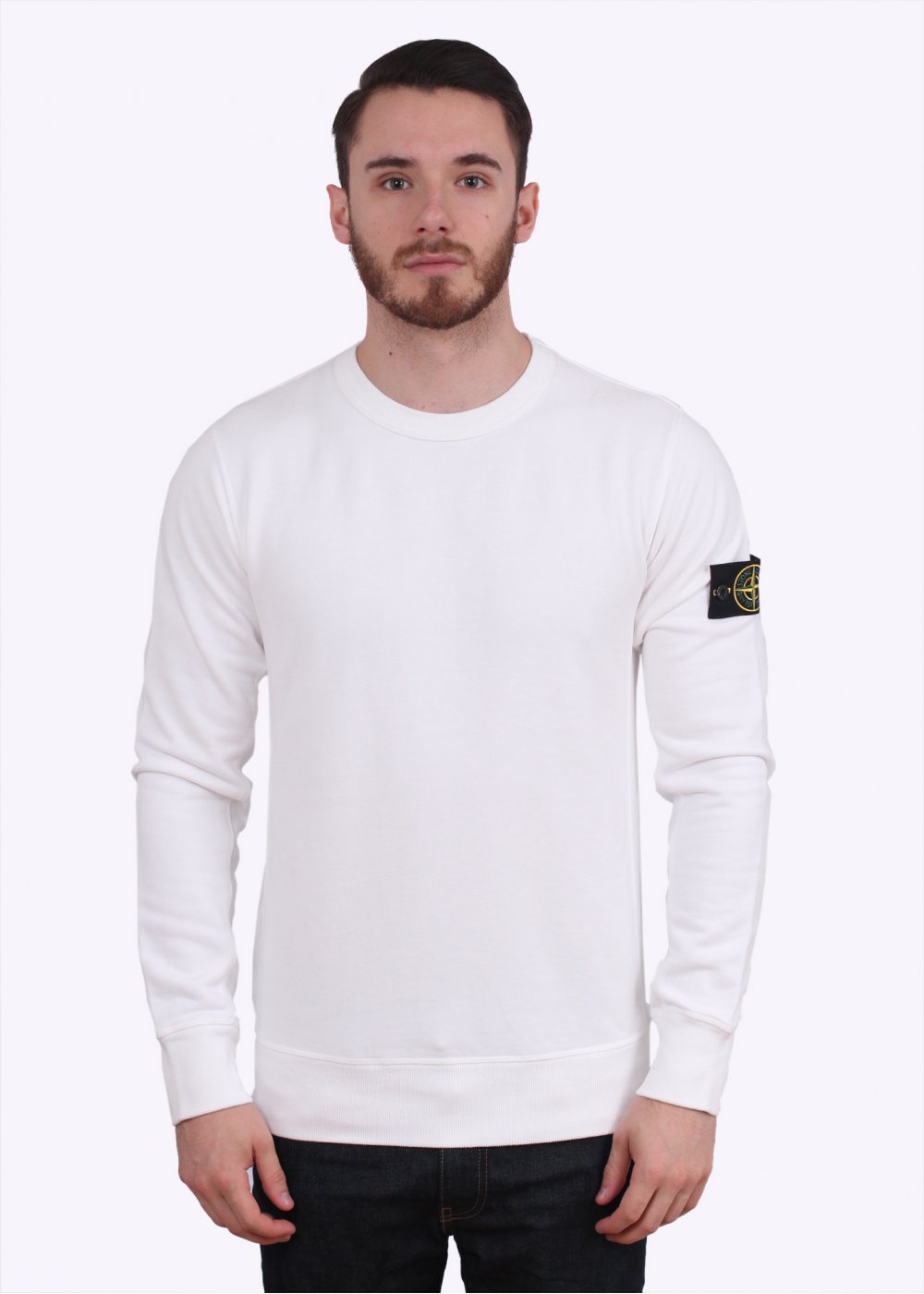 stone island crew neck sweatshirt white. Black Bedroom Furniture Sets. Home Design Ideas