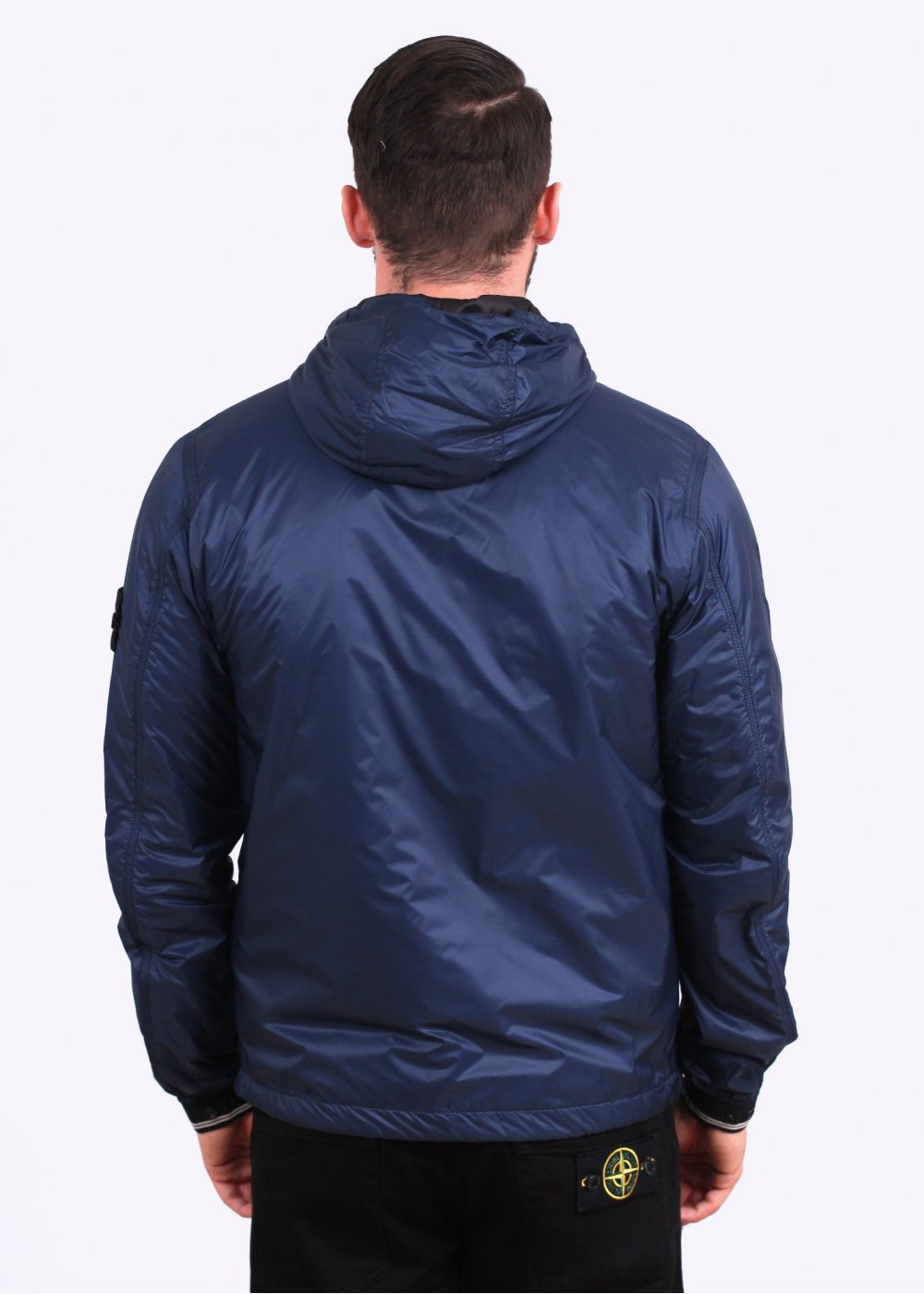 Stone Island Micro Ripstop Hooded Jacket - Blue - Stone Island from ...