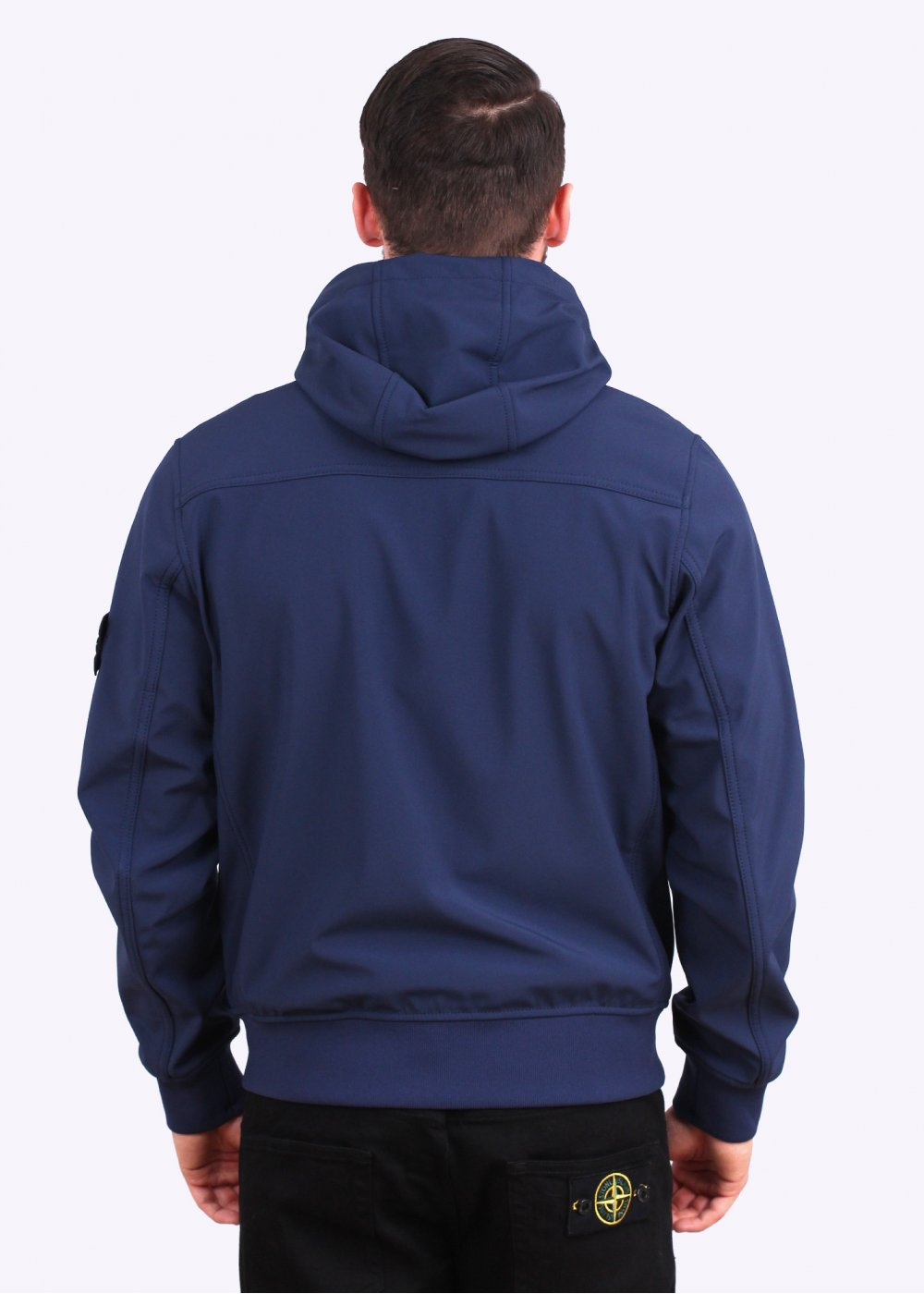stone island soft shell r hooded bomber jacket blue. Black Bedroom Furniture Sets. Home Design Ideas