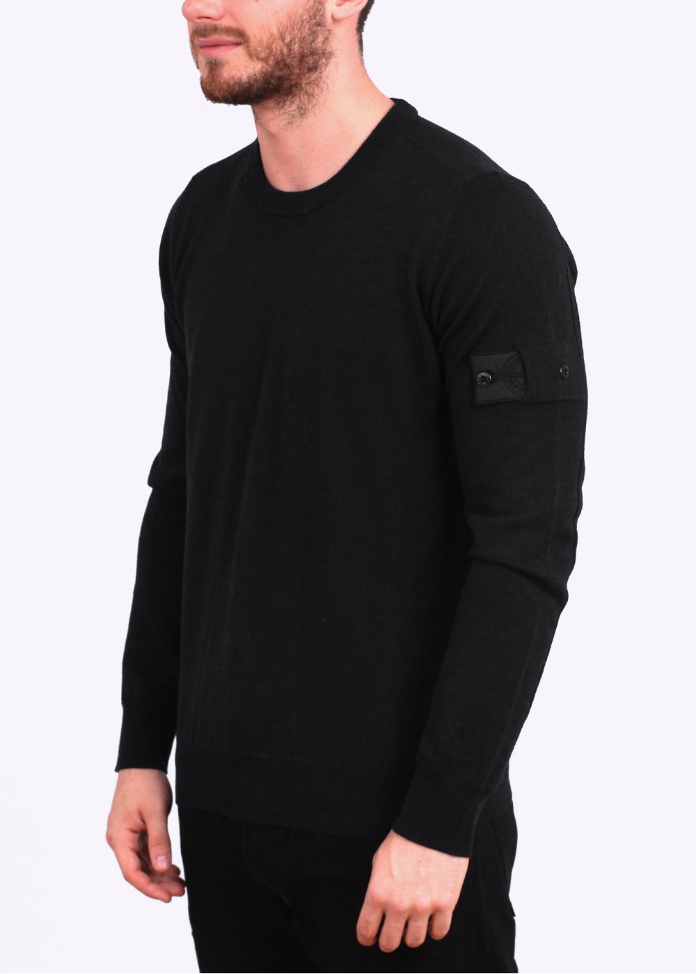 stone island shadow project 12gg pure wool crew knit sweater black stone island shadow. Black Bedroom Furniture Sets. Home Design Ideas