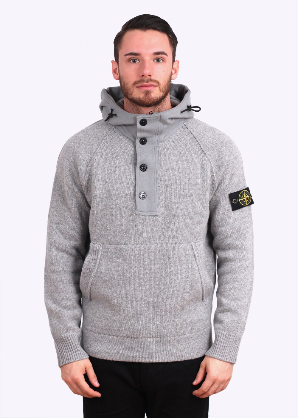stone island dark grey knitted hooded sweater. Black Bedroom Furniture Sets. Home Design Ideas