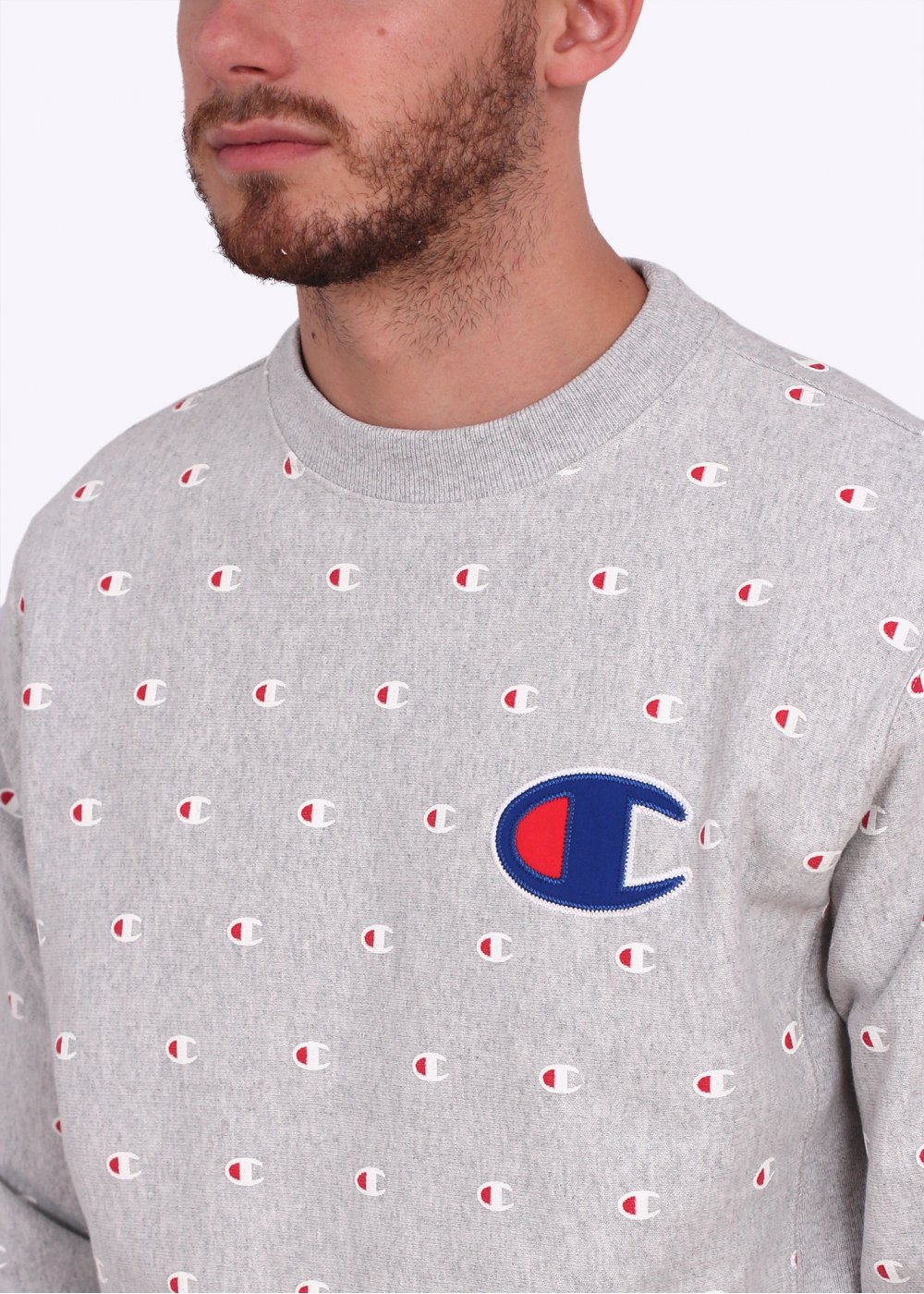 Champion Reverse Weave All Over Print Crew Sweater Grey