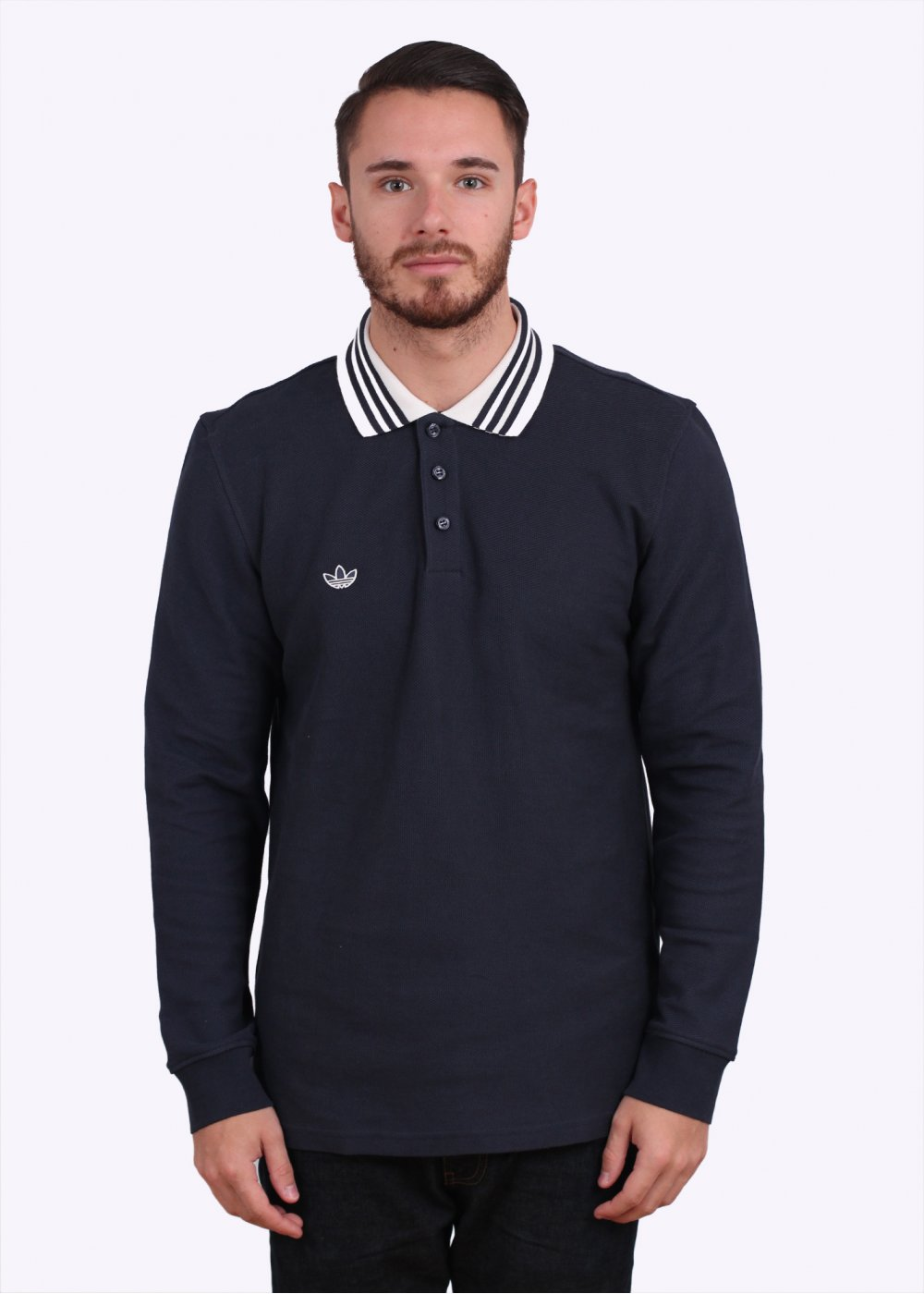 adidas originals long sleeve polo shirt night navy